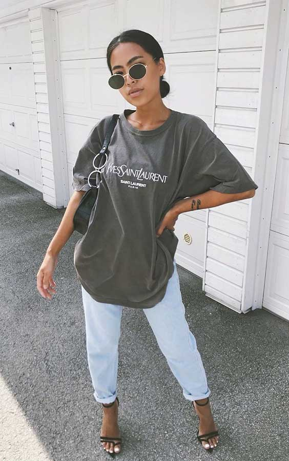 t-shirt oversized e calça boyfried