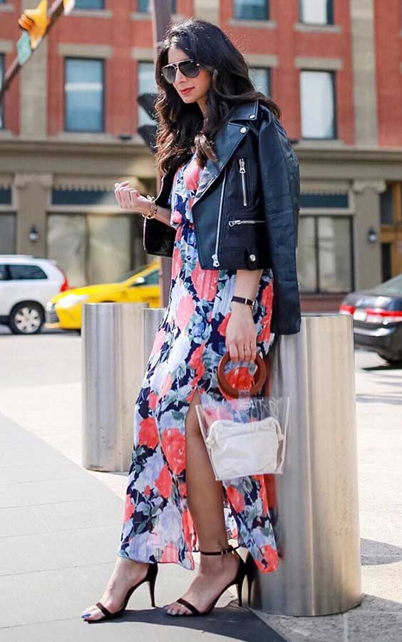 Dia dos namorados, jaqueta de couro e vestido floral