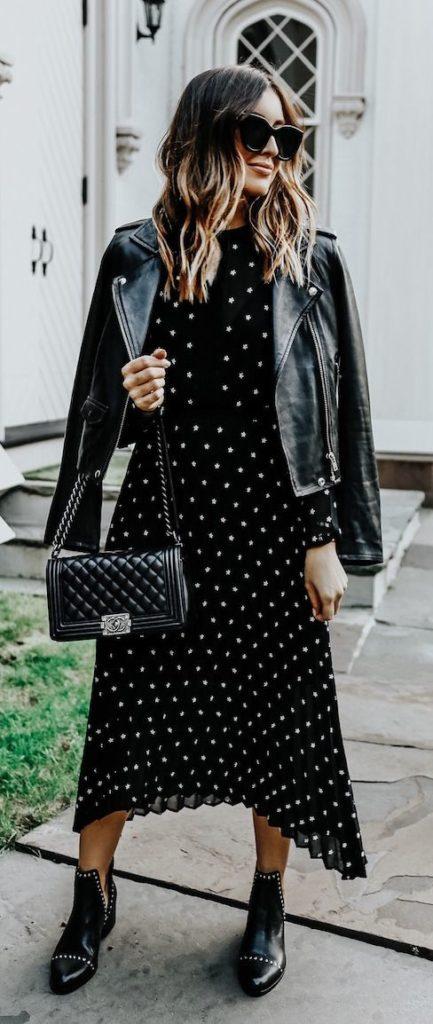 jaqueta de couro e vestido poá