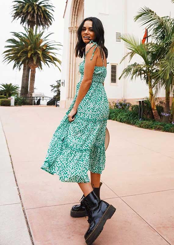Michelle Infusino, vestido longo floral