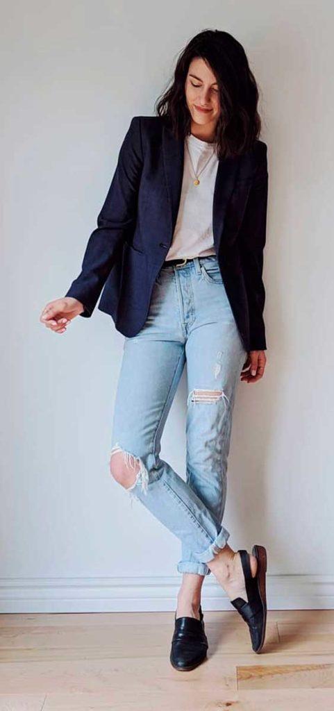 Petra alexandra, blazer e calça jeans