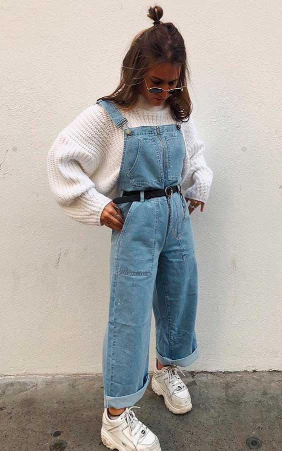 maixi suéter e jardineira