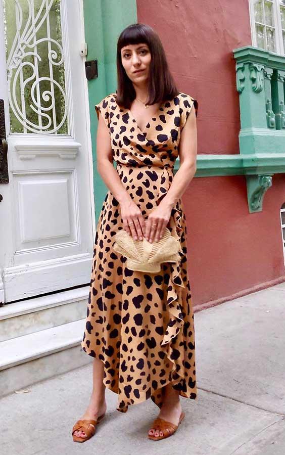 vestido com estampa de oncinha