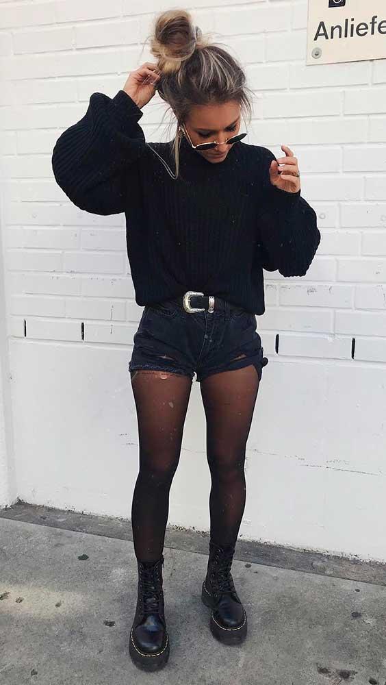 short com meia-calça
