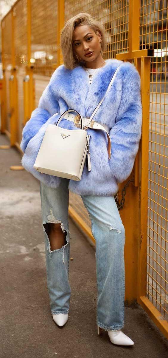 casaco de pelinho cinturado