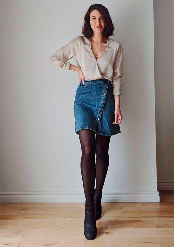 Petra alexandra, saia jeans e meia-calça