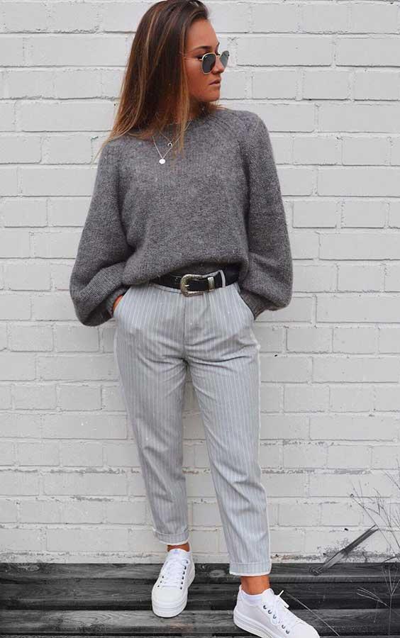 Minnahigh com look cinza