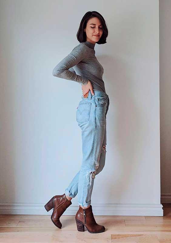 Petra alexandra, blusa cinza de manga e gola alta