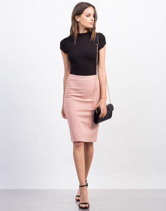 roupas para trabalhar, saia rosa