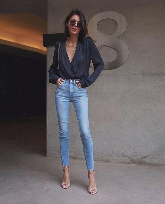 look chique com calça jeans