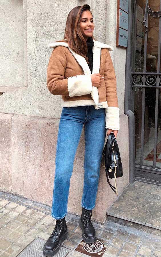 cool no inverno com jaqueta de couro