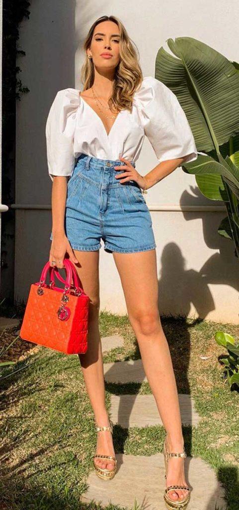 look lady like com camisa de manga bufante e shor jeans desfiado