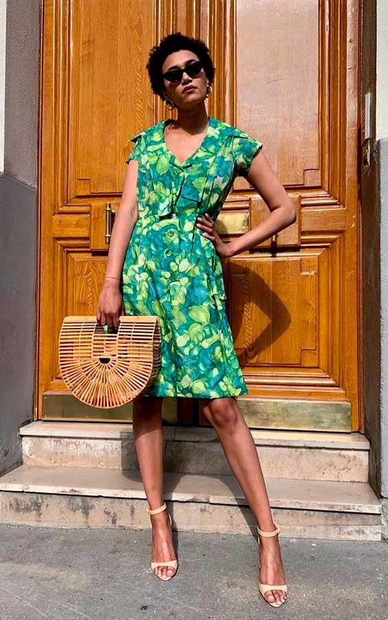 look lady like com vestido verde estampado