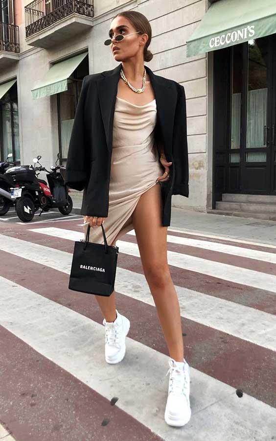 blazer e vestido drapeado