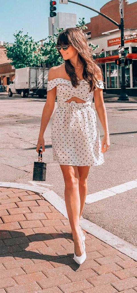 vestido lady like com estampa de bolinhas