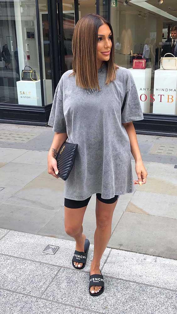 t-shirt dress cinza com bermudinha
