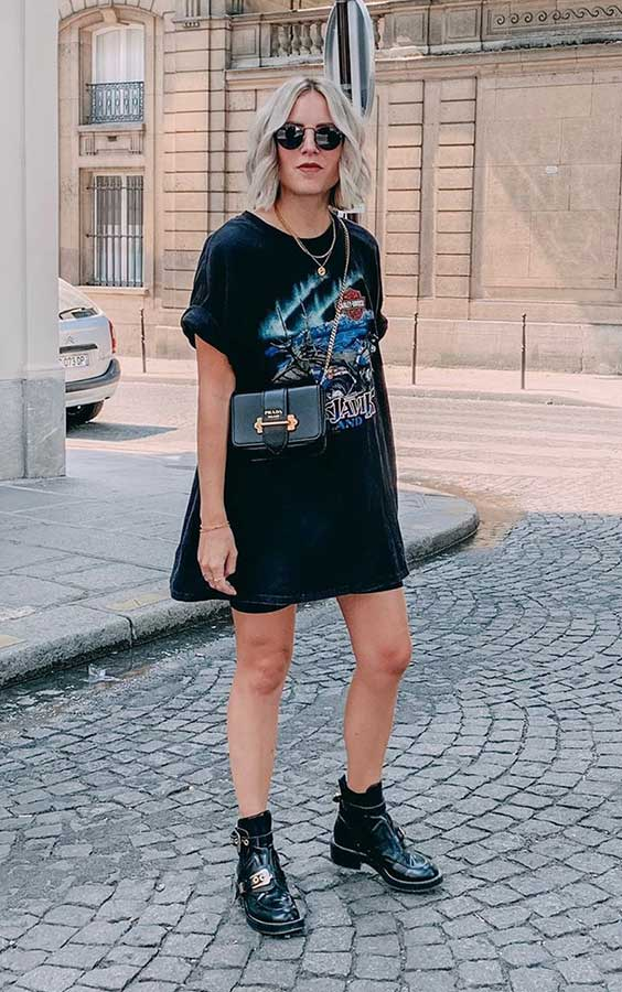 t-shirt dress preta com estampa de banda