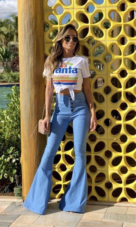 calça flare jeans boho e t-shirt com nozinho