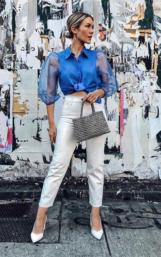 cropped azul e calça branca