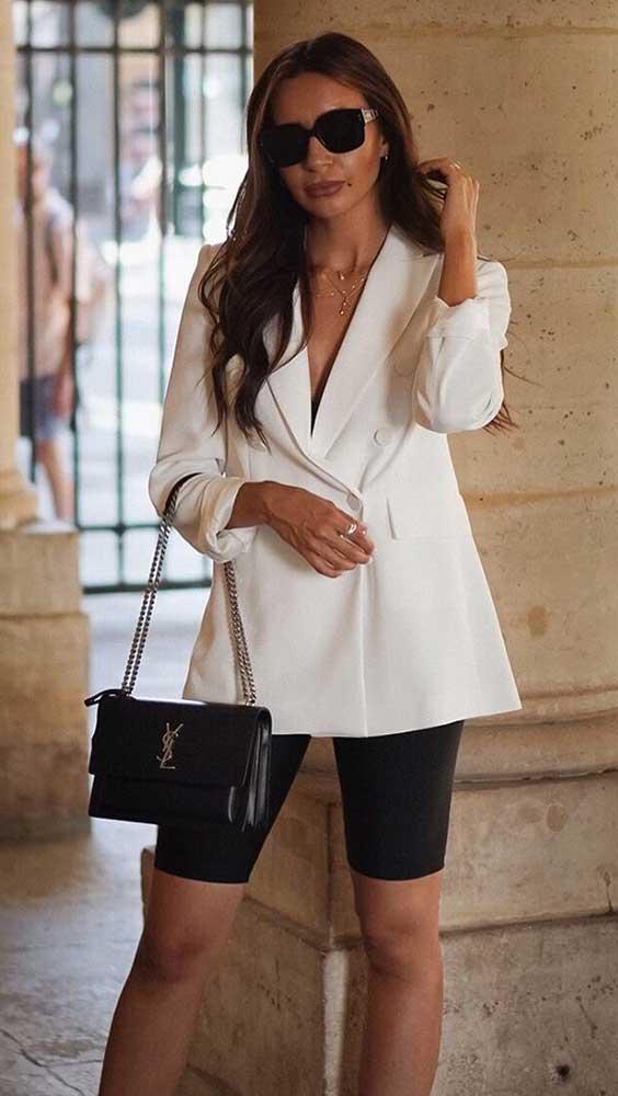 branco oversized blazer + biker short perta