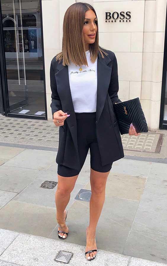 preto blazer + biker shorts perta e blusa branca