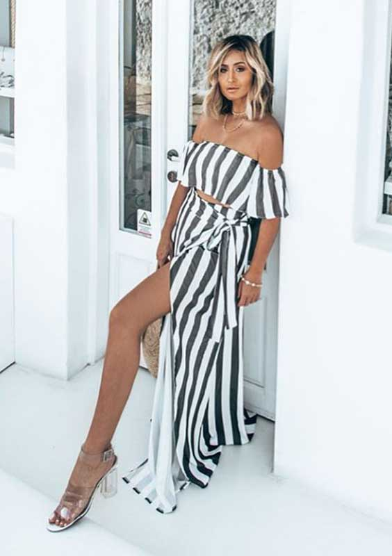 vestido longo listrado preto e branco