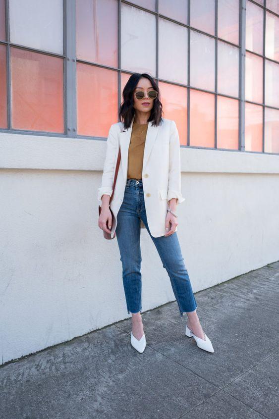 blazer branco calça ejans e mule branco