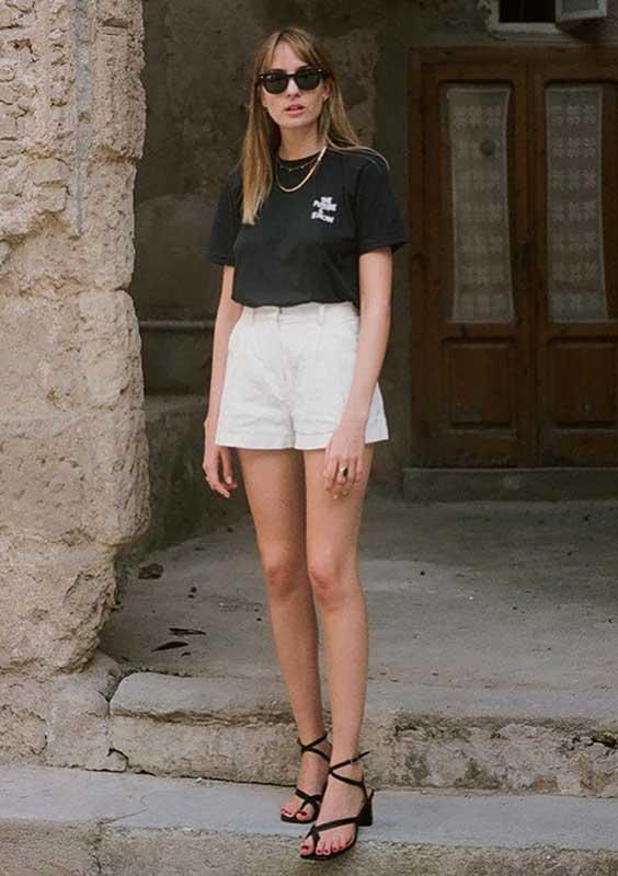 look preto e branco com blusa e short