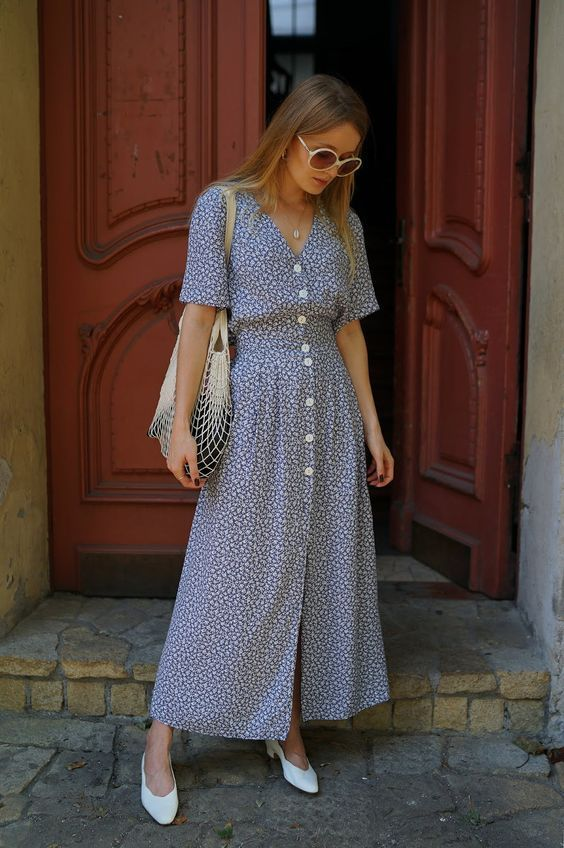 vestido longo de botões com estampa floral