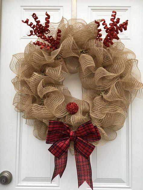 decoração de natal com guirlanda de laço
