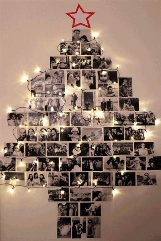 decoração de natal com arvore de fotos e pisca pisca