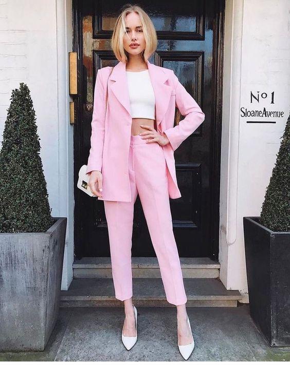 terninho rosa com cropped branco