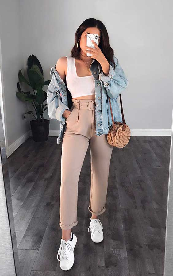 cropped branco, jaqeuta jeans, calça clochard