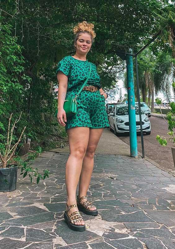 macaquinho verde animal print