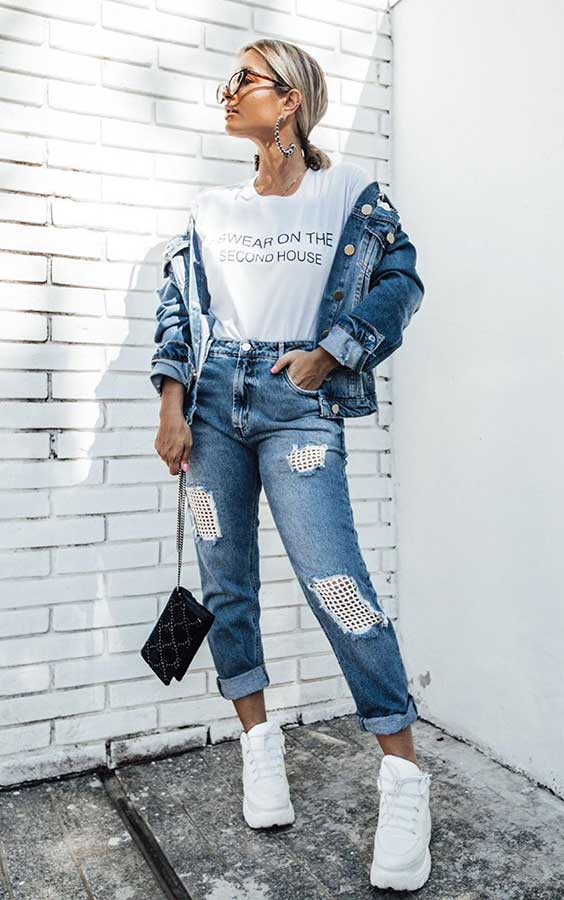 look jeans com jaqueta jeans destoyed
