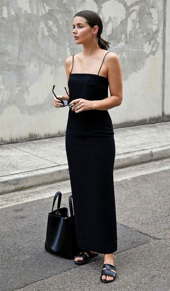 roupas pretas, vestido longo