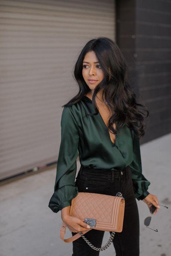 camisa de cetim verde
