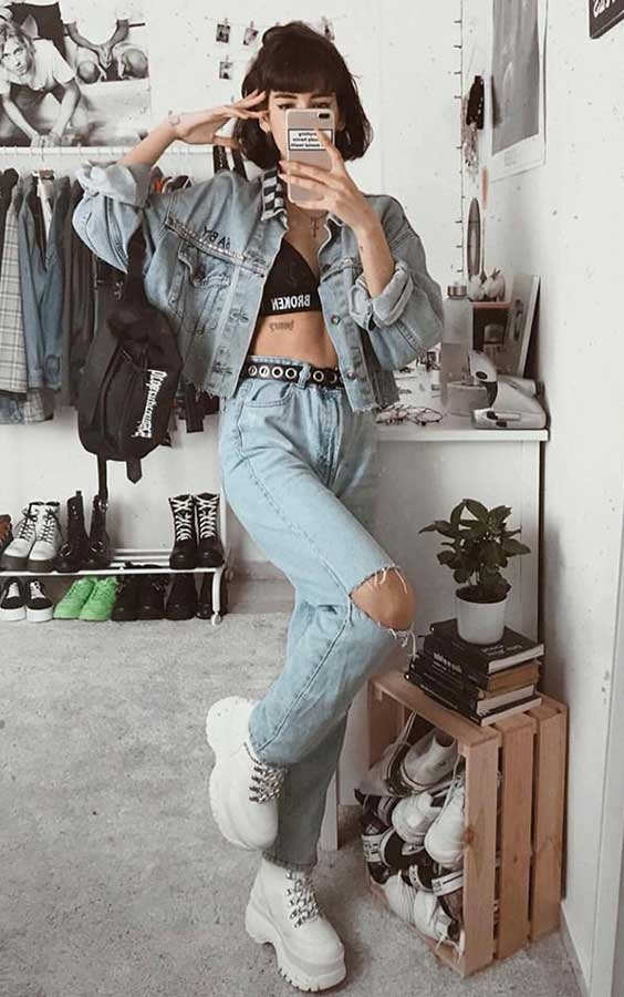 Lydia F. look jeans com jeans destroyed