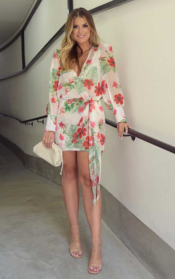 vestido envelope com estampa floral