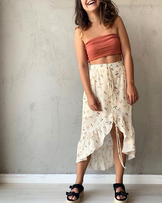 top faixa, saia mullet floral