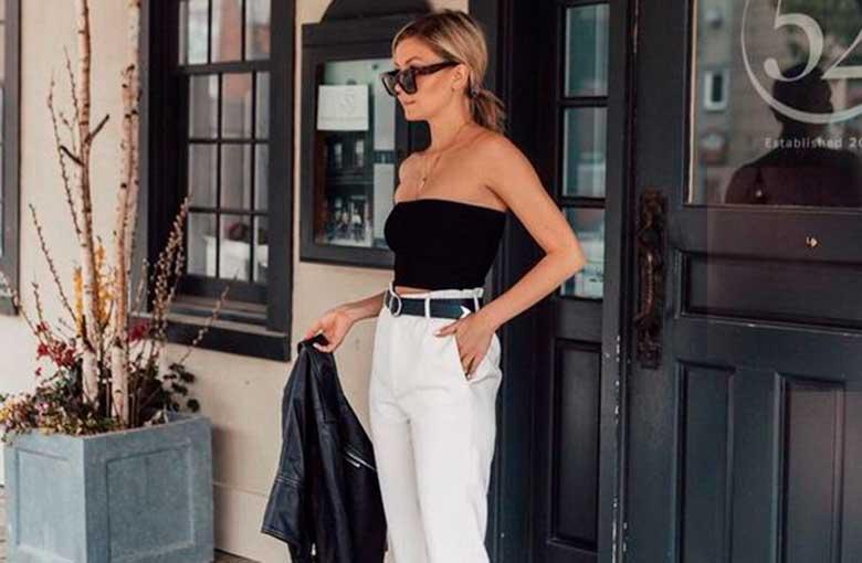 top faixa e calça branca