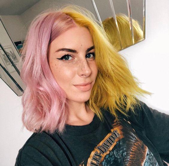 Cabelos coloridos, rosa e amarelo