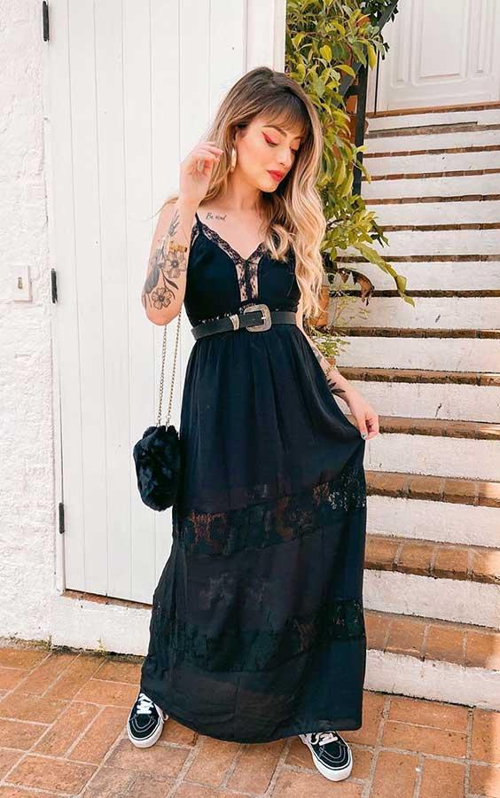 março, vestido longo preto
