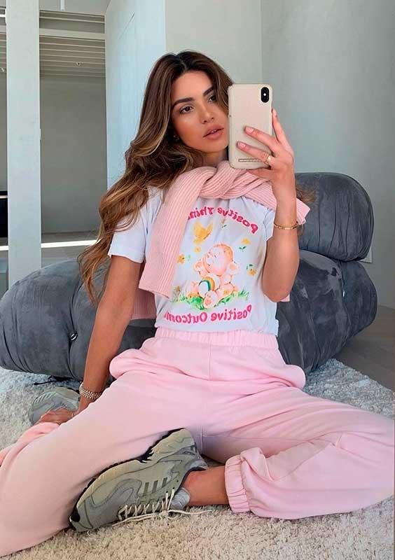 Pijama, t-shirt estampada, cojunto de moletom rosa