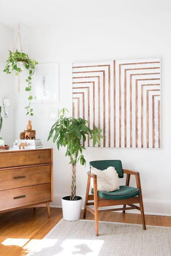 cantinho com plantas, jibóia e palmeiras