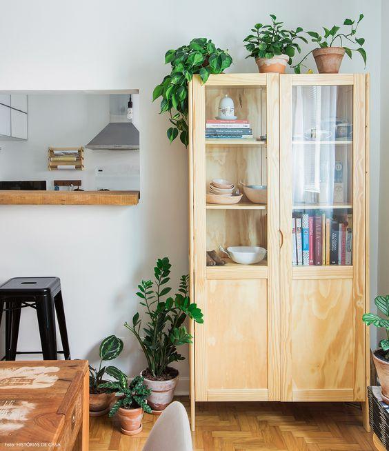 sala de jantar com plantas, cristaleira, jibóia, zamioculca