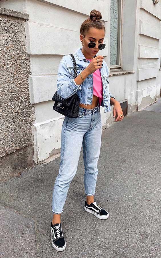 anunanna, look jeans com jeans, tênis vans preto