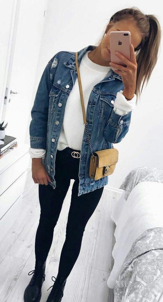 moletom branco, jaquet jeans, calça skinnu