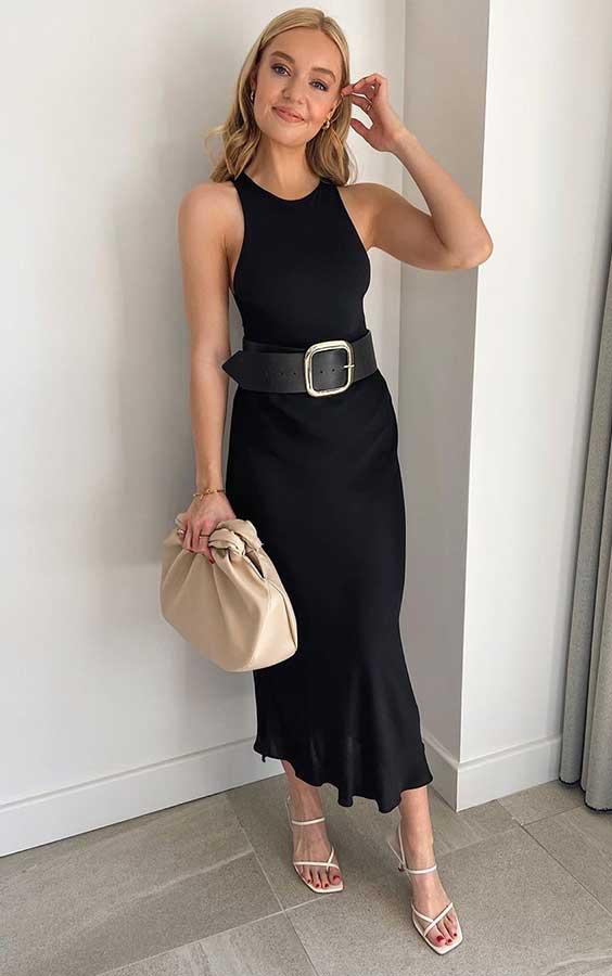 vestido midi preto, maxi cinto