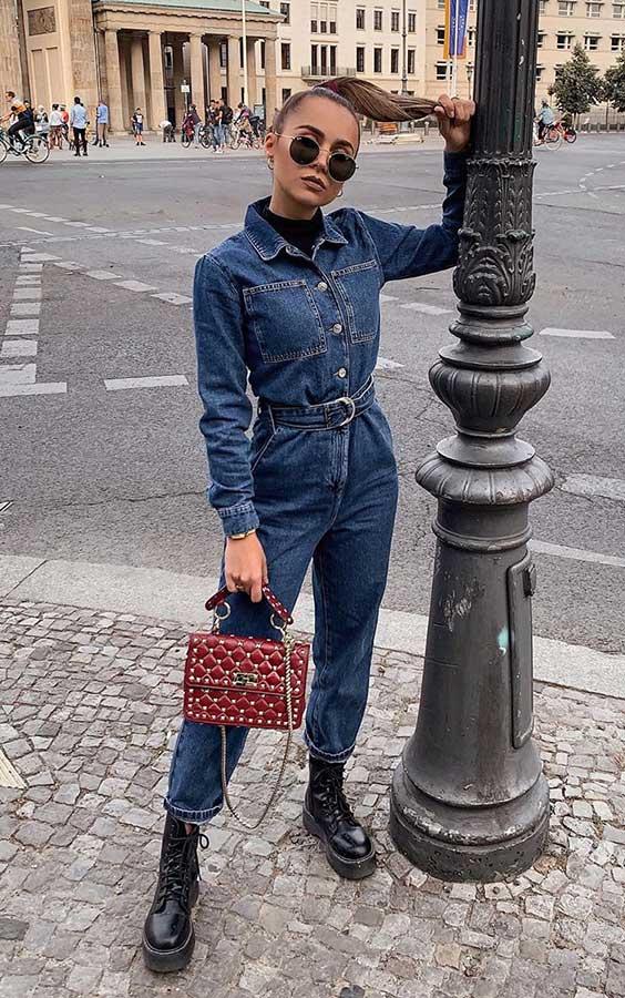 anunanna, macacão jeans e coturno